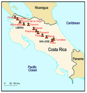 Map of volcanoes in Costa Rica